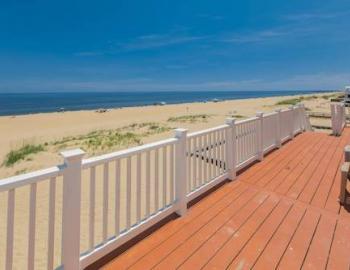 view of beach from a rental patio in sandbridge virginia beach