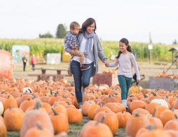 young family at the pumpkin patch picking out pumpkins